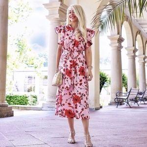 Zara Floral Print Linen Tunic Midi Dress Small